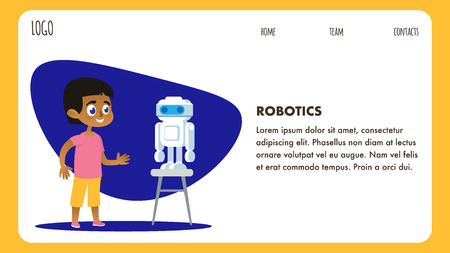 Robotics Science Club. Kid Workshop Flat Landing. Artificial Intelligence Technology. Afro American Cartoon Boy Character with Robot. Vector Illustration Banner. Child Engineering Tech Program.