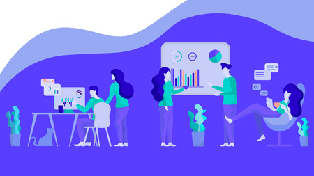 Illustration Financial Chart Analysis Group People. Vector Analytic Result Testing Employees Company. Marketing Department Examines Data Obtained from Survey Potential Consumer. Men, Women Workplace