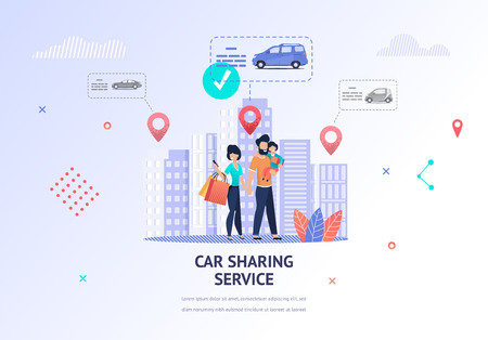 Illustration Happy Family Looking Car for Rent. Banner Vector Father Hold Child in her Hand, Mom Uses Car Sharing Service Mobile App for Car Selection. Technical Specification. Nearest Location