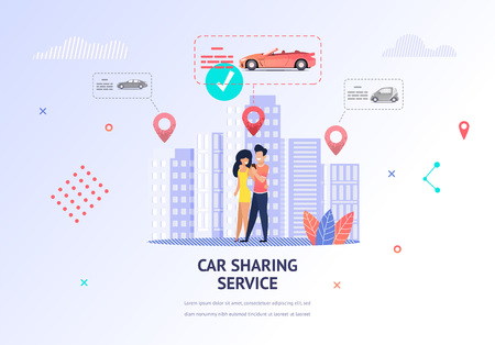 Illustration Loving Couple Tearing Out Car Weekend. Banner Vector Man and Woman Hugging. Guy Uses Car Sharing Service Mobile App to Select Car for Rent Romantic Trip. Transport to Customer Location Illustration