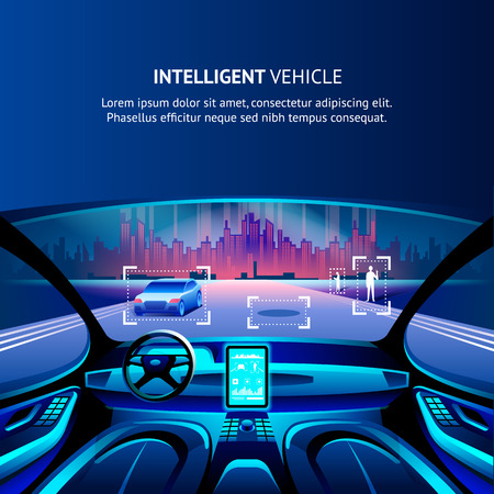 Intelligent Vehicle Cockpit Cityscape View. Vector Illustration of Autonomus Smart Car. Driverless Automobile with Intelligent Innovation GPS Traffic radar System. Security Driverless Technology. Иллюстрация