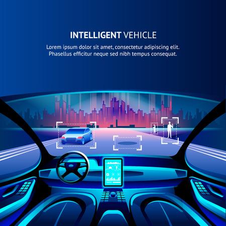 Intelligent Vehicle Cockpit Cityscape View. Vector Illustration of Autonomus Smart Car. Driverless Automobile with Intelligent Innovation GPS Traffic radar System. Security Driverless Technology. Illustration