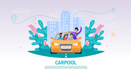 Illustration Happy Company People in Car, Carpool. Banner Vector Joint Train Company Friends. Travel from Point A to Point B. Yellow Car People Background Urban Landscape. Guy Leaned Out Car Window Illusztráció