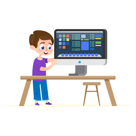 Computer Education Illustration. Cartoon Boy Flat Character Inside House Learn Online Tutorial. Preschool Internet Globe Univercity Teaching Course. User Content Laboratory Platform.