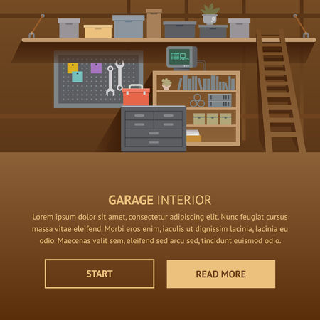 Garage Interior. Machine Service Flat Banner Illustration. Tidy Auto Repair Workshop Organization. Handyman Workbanch with Hardware and Electric Equipment. Wall with Shelves, Spanner, Pliers. Illustration