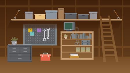 Keller-Workshop-Illustration. Garage oder Keller-Innenlager mit Mechaniker-Ausrüstungsset. Lagerraum oder Tischlerarbeitsplatz mit Regalen, Tisch, Möbeln. Cartoon-Speicher-Innenraum.