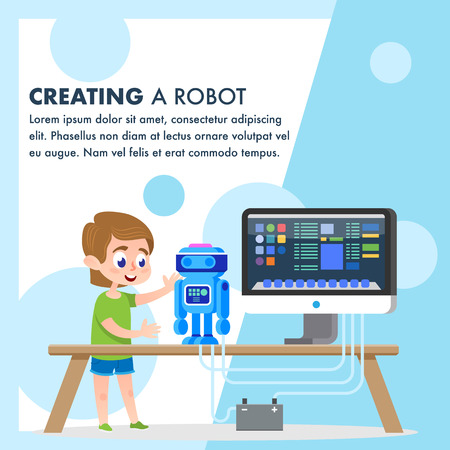 Creating a Robot Model. Kid Builds Robotic Technology Invention with Computer Equipment Programming. Scientific Toy Engineering Interesting Hobby. Early Student Code Workshop Banner.