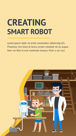 Creating Smart Robot Workshop. Small Boy Standing near Table with Teacher Engineer Studying Interesting Hardware Robotics Invention. Cartoon Vector Character. Electronic Equipment Education.  イラスト・ベクター素材