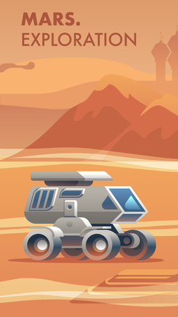 Illustration Exploration New Terrain Surface Mars. Banner Vector Allterrain Vehicle for Exploring Red Planet. Conquest New World. Scientific Discovery Space. City Silhouette Behind high Mountain