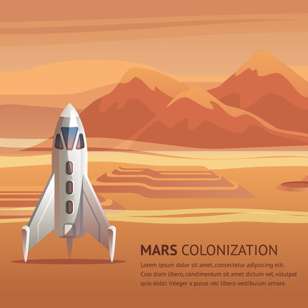 Banner Illustration Space Rocket on Surface Mars. Vector Image Panorama Red Planet. Mars Colonization Group Astronauts. Shuttle Preparing for Strat in Background Mountain Landscape. Space Exploration. Vector Illustration