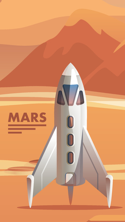 Illustration Colonization Red Planet Astronaut. Banner Vector Space Shuttle Arriving on Mars. Apparatus for Long Distance Flights in Outer Space. Space Exploration. Scientific Discovery