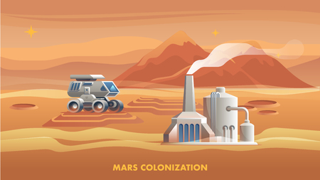 Illustration Mars Colonization First Astronaut. Banner Illustration Mountain Landscape Surface Red Planet. Allterrain Vehicle to Move Surface Mars. Life Support Building Settlers Colony
