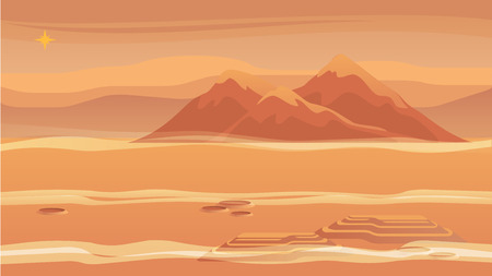 Panorama Mountain Landscape Red Planet Surface. Vector Illustration Landscape Mars. Bright Star Above Surface Mars. Sandy Desert. Planet without Sign Life. Scientific Space Learning New World