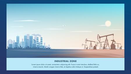 Illustrazione della bandiera Metropoli della zona industriale. Visualizza panorama panorama città moderna azienda di perforazione. Impianto di produzione di olio. Azienda di lavorazione del prodotto petrolifero. Centro affari. Edificio per uffici Vettoriali