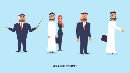 Flat Vector Illustration Set Group Arabic People. Bearded Man in Suit Holding Pointer. Guy Holds Suitcase with Documents. Woman Wearing Hijab. Business People. Businessman Welcomes with Handshake Ilustração