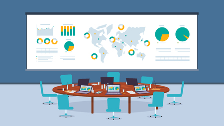 オフィス会社事業での会議のための円卓上。異なるポイントビジネスコーポレーションでグラフ利益成長を持つ世界地図。会議ホール署名契約。ワークスペース従業員会社