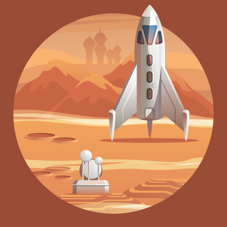 Vektor-Illustration Rakete Vorbereitung für den Start. Space Shuttle zur Erkundung. Gerät für Langstreckenflüge im Weltraum. Kolonisation Roter Planet Mars. Wissenschaftliche Stadt, um die neue Welt zu erkunden