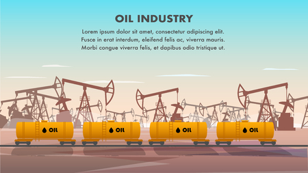 Freight Railcar for Oil Industry Transportation. Flat Banner Illustration Set of Tank for Transporting Crude Oil Product. Plant for Extraction and Production Combustible Substances. Oil Drilling Rig  イラスト・ベクター素材