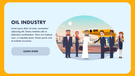 Cooperation Agreement with International Company. Flat Banner Illustration Corporation Oil Industry. Group People on Background Gas Station. Arab Man Welcomes his Business Partner. Woman Holds Folder
