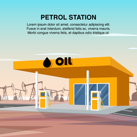 Flat Banner Illustration Yellow Petrol Car Station. Refueling Vehicles with High Quality Petroleum Products. Column Gas Filling on Highway. Crude Oil Production and Processing Plant. Burning Substance Illustration