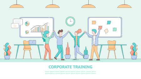 Banner Corporate Training for Employee Development. Illustration Group People Listened Educational Seminar. Happy Man and Woman Hold Hands. Interior Modern Office. Financial Growth Chart Flipchart