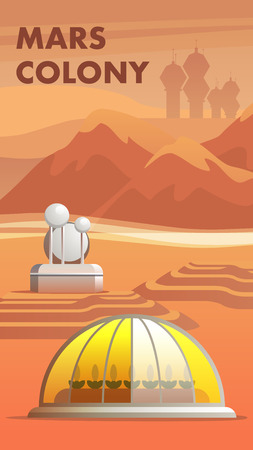 Illustration Mars Colony First Settlers Astronaut. Banner Vector Building Greenhouse for Growing Plants Red Planet. Space Base Background Rosint, Mountain and Silhouette City Colonialist Settler Mars