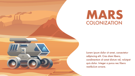 illustration allterrain vehicle sandy surface mars. banner vector mars colonization astronaut. travel to explore new horizon red planet. conquest new world. scientific discovery space. City Silhouette