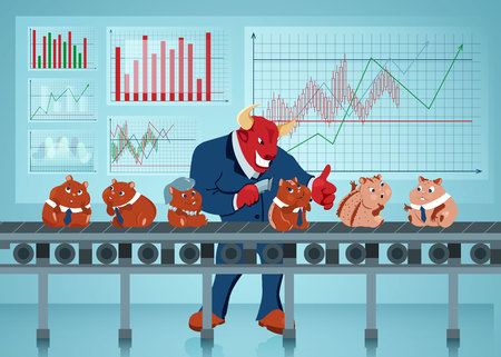 Bull Shaving Hamsters Flat Vector Illustration. Humanised Rodents on Conveyor Belt. Stock Market, Trading, Manufacturing Concept. Businessman, Office Workers Cartoon Characters. Diagram, Graph Growth