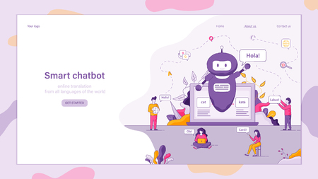 Flat Illustration Smart Chatbot Welcomes Customer. Technical Online Service Support. Chat with Customer Help Service. Group People Uses Laptop to Communicate with Company. Robot Located on Monitor Ilustração
