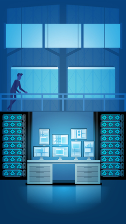 Control Room Supervision Console. Man Person Administrator Character Workplace Table. Modern Networking Monitoring Terminal. Engineering Front Desk Computing Equipment. Telecommunication Support.