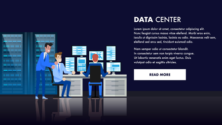 Computer-Rechenzentrumsraum. Datenbankadministrator-Arbeitsstation. Infrastruktur für Kommunikationsgeräte. Techniker Stuff People Support. Remote-Netzwerkdomäne und Hosting-Online-Benutzerreparatur.