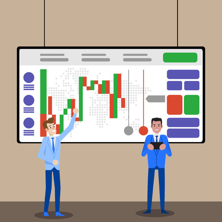 Forex or Crypto Trade Candlestick Chart Monitoring. Online Stock Analysis. Financial Investment on Currency Market. Technical Indicator Business Strategy. Vector Dashboard Trader Screen.