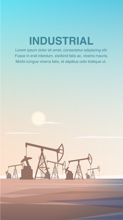 Flat Production Drilling Rig Oil from Depths Earth. Banner Illustration Industrial Zone Refining Petroleum Products. Plant Mining Burning Substance. Gasoline Production. Industrial Part Desert