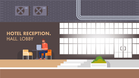 Hotel Reception Hall and Entrance Inside. Young Smiling Man Hipster Sitting in Comfort Armchair Lobby Lounge Interior and Working at Table on Laptop. Horizontal Banner or Landing Page. Illustration