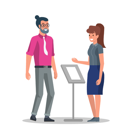 Young Businessman in Reception. Girl Receptionist Check Guest Registration and Reservation. Traveler Guy Smile with Hostel Appartment Administrator Lady. Flat Vector Cartoon Illustration. Illustration