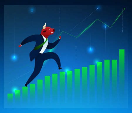 Businessman, Investor, Broker Vector Character. Bull Running on Diagram Flat Cartoon Illustration. Humanised Animals in Suit. Graph Growth. Stock Market, Manufacturing, Trading, Commerce Concept  イラスト・ベクター素材