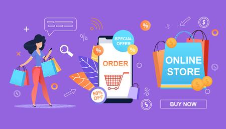 Sonderangebot. 50 Prozent. Befehl. Online-Shop. Happy Girl macht das Einkaufen einfach und einfach. Online-Shop-Smartphone. Große Einsparungen beim Einkaufen im Einzelhandel. Boni und Rabatte und profitable Werbeaktionen.