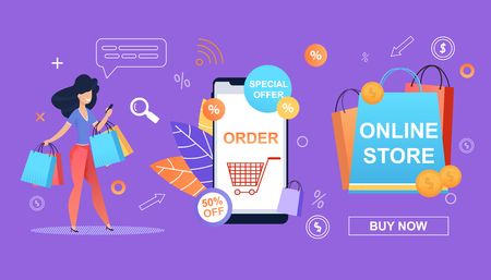 Special Offer. 50 Percent. Order. Online Store. Happy Girl make Shopping easy and Simple. Online Shop Smartphone. Big Savings Shopping Retail. Bonuses and Discounts and Profitable Promotions Store.