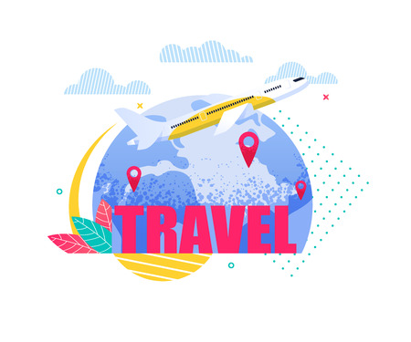 Banner Illustration Travel by Plane around Earth. Airline Carrying out Passenger Transportation by Air. Airplane Flying over Planet. Vacation Destination. Business Trip. Family Holiday. Travel Agency