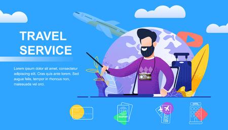 Travel Service Selection yours Individual Holidays. Banner Vector Illustration Young Bearded Man with Camera. Travel to Land Dreams. Plane Flying off against Backdrop Planet. Tourist Route
