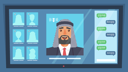 Online Conference Representative Business Company. Flat Vector Illustration Man Arab Nationality Conducts Video Chat with an Affiliate Company. Discussion Work Plan. Factory Production Report. Monitor