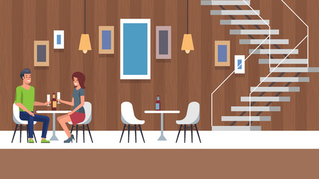 Romantic Date at Restaurant Interior Place. Two People in Love Relatioship Sitting and Talking after Engagement. Beauty Girl with Boyfriend Flirting at Indoor Hotel Cafe. Happy Dating Illustration.