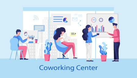 Coworking Center. Rental Workspace any Time. Modern Office design and Comfortable Meeting Room. Woman Works with Laptop stylish Coffee Zone. Creative Coworking transformed Lifestyle.  イラスト・ベクター素材