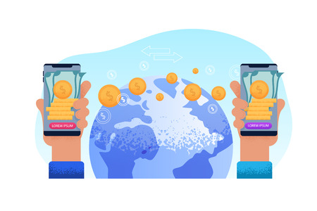 Sending World Remit. Technology Phone Hand. User Application Transfers Money to another Country. User withdraw Cash from their Mobile Account at Agent Points their Country. Finance Information. Ilustrace
