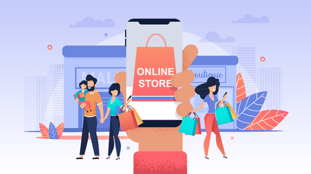 Online Store. Women make Purchase Mobile Store. Luxury Goods bought Through Phone. Male Virtual Version.  Spend more Time Shopping Online. People Convenient Buy different Brand Clothing.