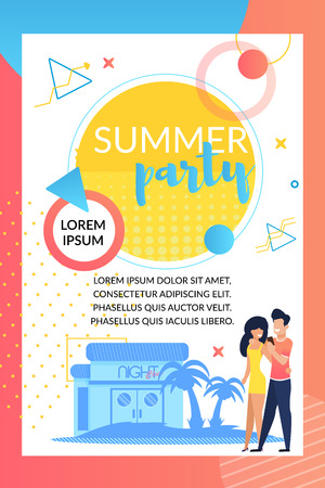 Summer Party. Night Club. Dance City Beach Bar. Drinks station. Bar with Cups straws and Lots Ice. Creative Mix Electronic Music Styles great Mood and Beautiful People. Holiday Atmosphere. Иллюстрация