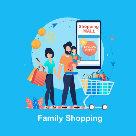 Family Shopping. Special Offer. Shopping Mall. Young Happy People Mall. Family Budget. Saving Money. Entertainment Complex. Man Woman and Child make Purchases Month. Discount Program.