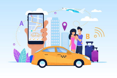 Diverse Modern Fleet maximizes List Services. Vector Illustration. Taxi Bonus Program. Convenient mode Operation makes Possible Order Car any Time Day. Transportation Customer safety and Comfort. Foto de archivo - 125315180