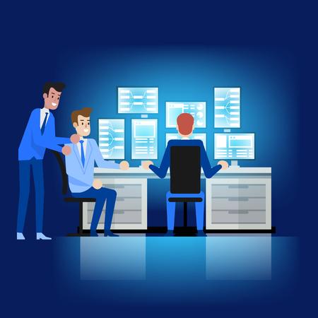 Verwaltungsdienst für die Datenbankwartung. Desktop-Arbeitsplatz. Professioneller Softwareingenieur, der an Konfiguration, Cloud-Synchronisierung und Systemwiederherstellung arbeitet. Mann-Charakter am Arbeitsplatz auf der Suche nach Daten.