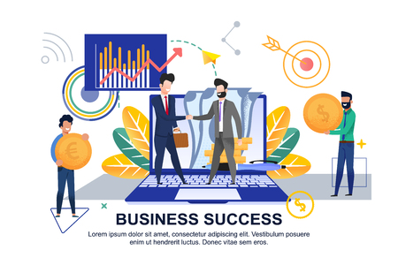 Flat Banner Business Success on White Background. Vector Illustration. Two Men in Suits on Background Laptop and Paper Money Greet. Office Workers brought Gold Coins with Dollar Sign and Euro.